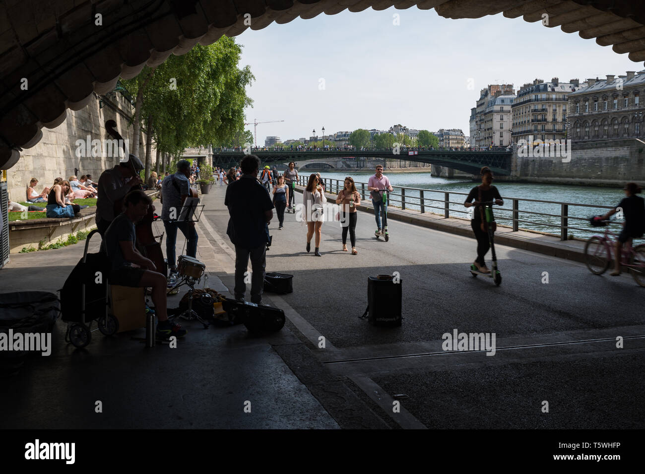 Paris, France - April 2019: Easter activities on the River Seine - Stock Image