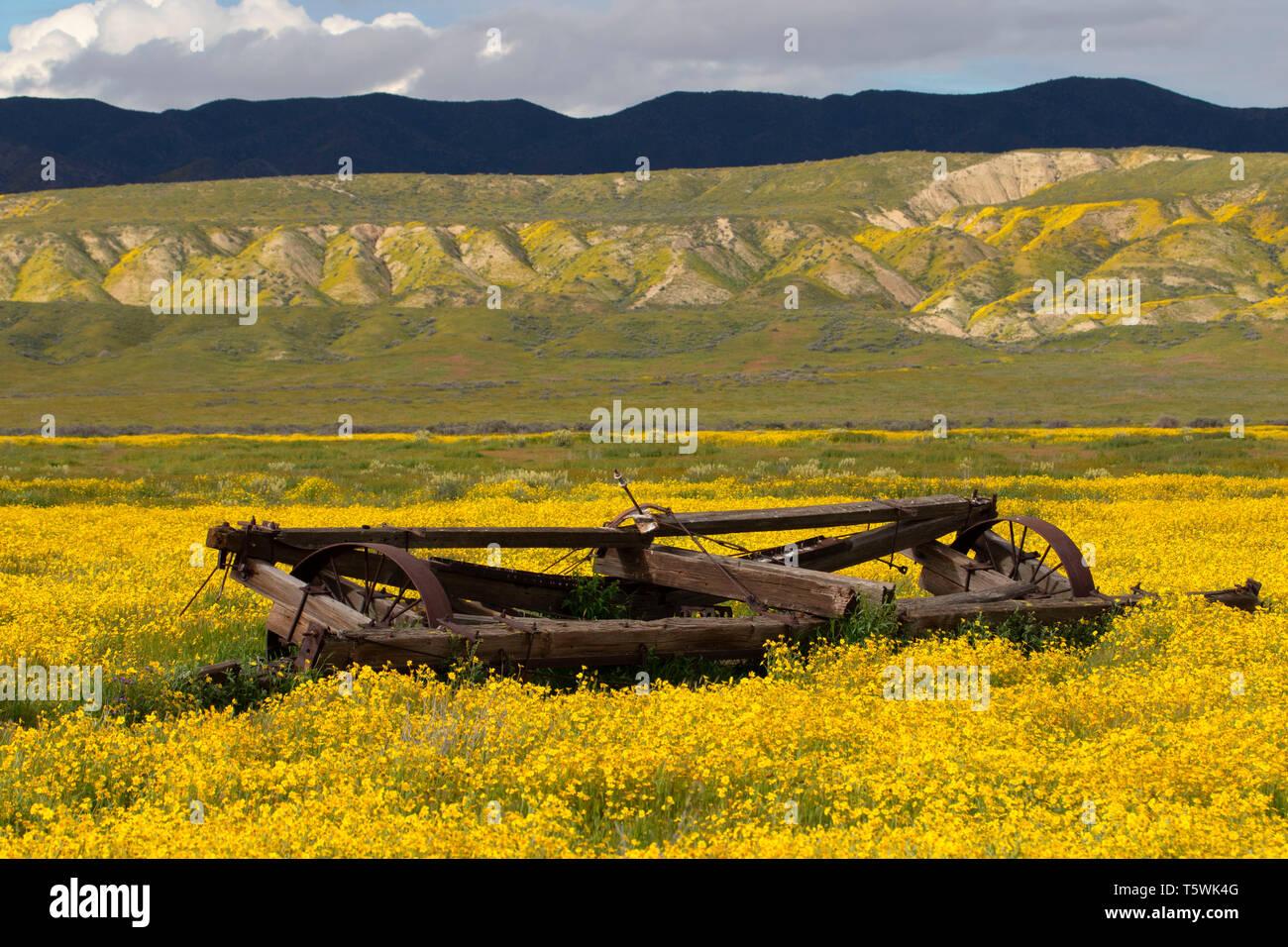 Rustic ranching equipment, Carrizo Plain National Monument, California Stock Photo