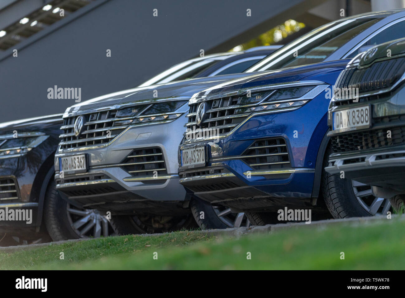 Wolfsburg, Germany, April 20., 2019: Volkswagen and Skoda off-road vehicles on the edge of the Autostadt off-road course - Stock Image