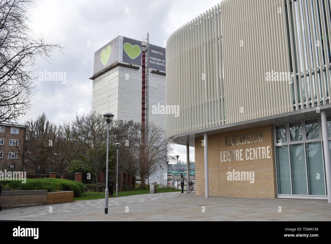 London, UK. March 2 2019. Grenfell Tower with tarpaulin the subject of a public inquiry after devastating fire ripped through all the floors. - Stock Image