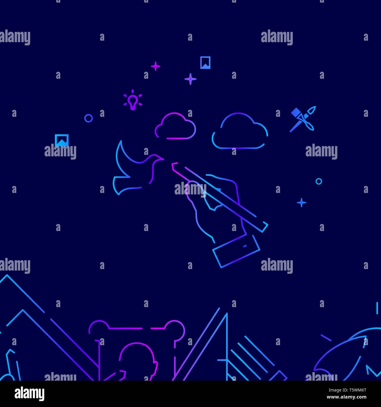 Hand Draws Landscape Vector Line Illustration. Art, Design and Creativity Gradient Icon, Symbol or Pictogram, Sign. Dark Blue Background. Related Bott - Stock Vector