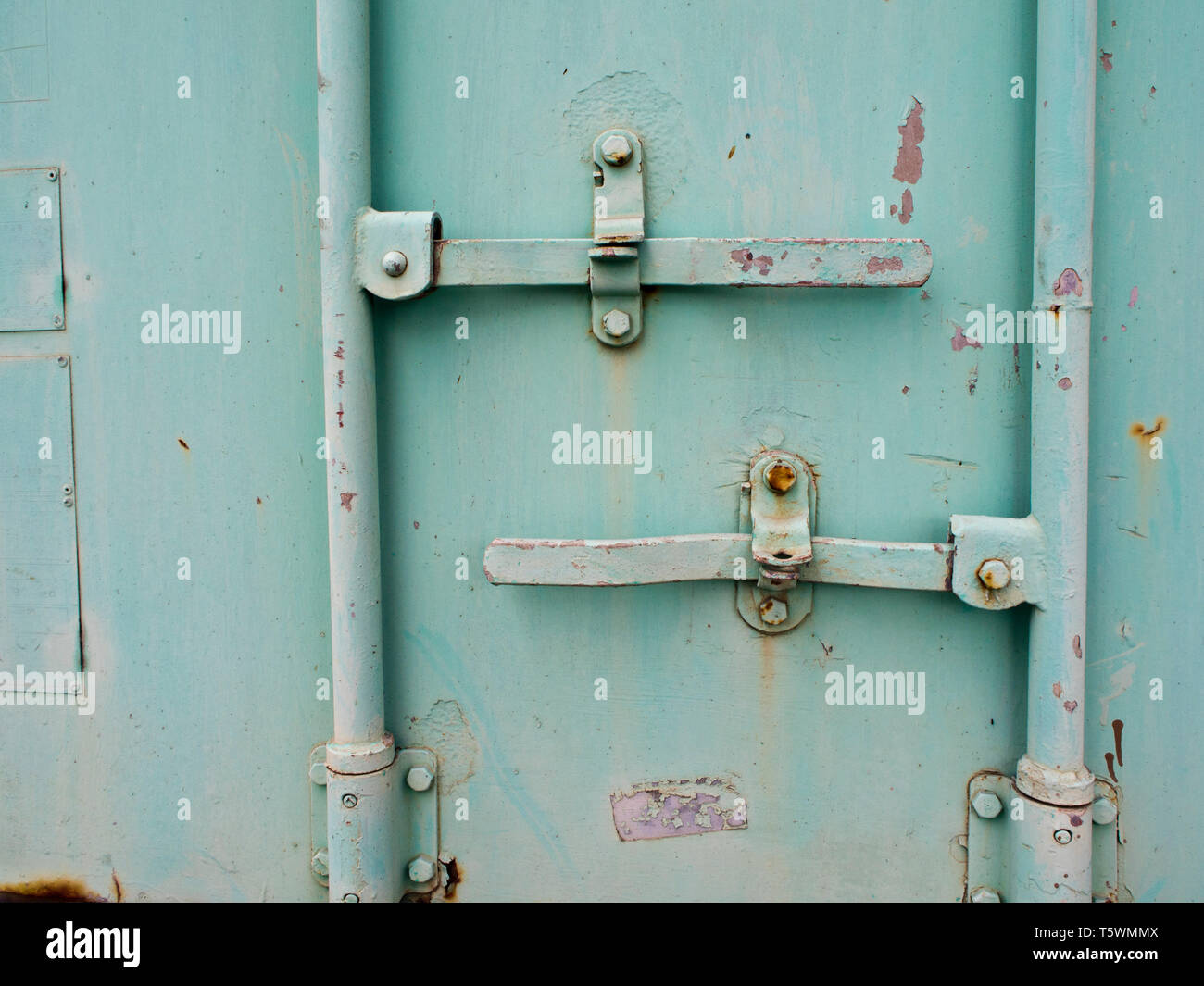 Close up to Containner door and dowel lock - Stock Image