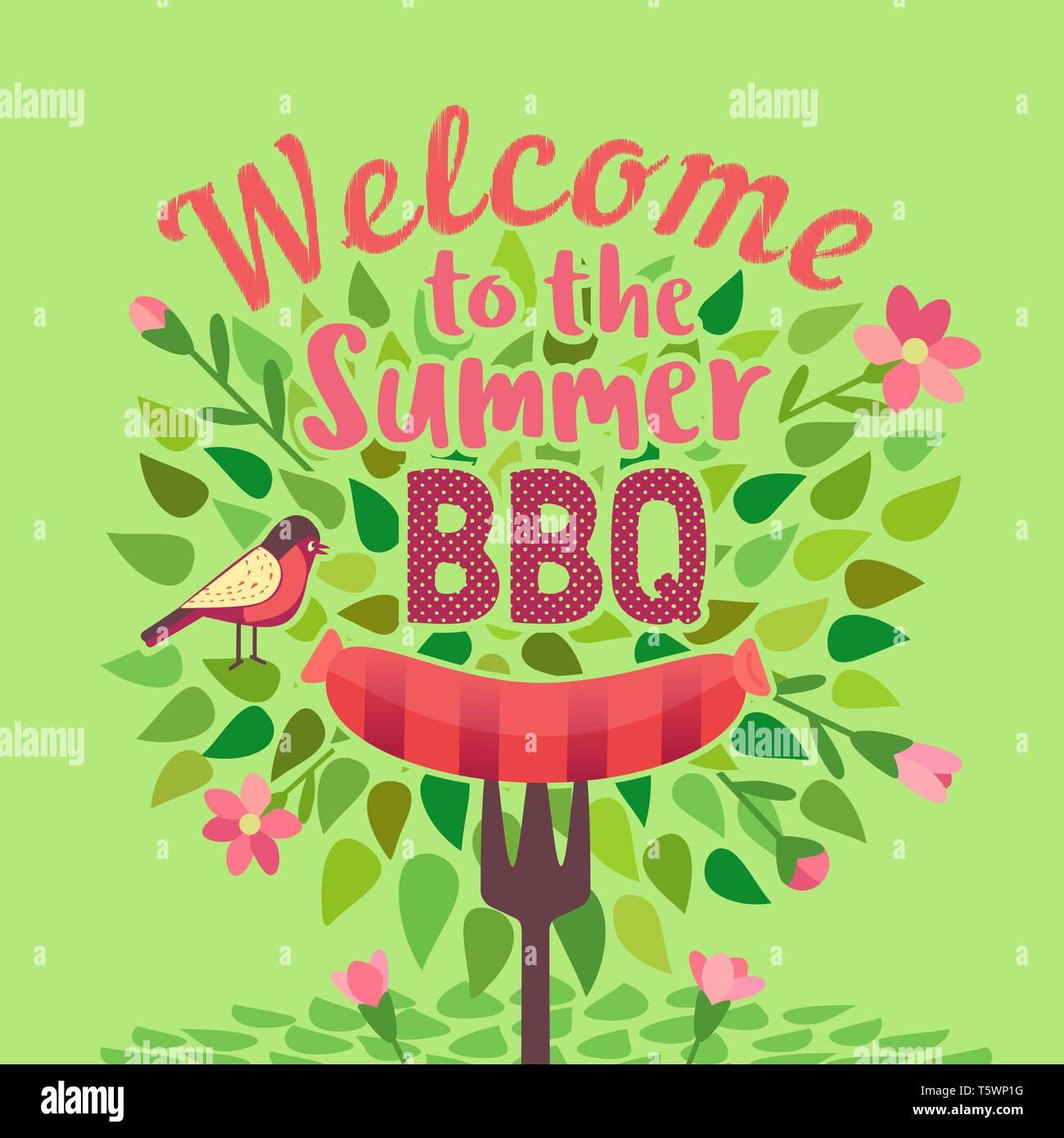 Summer barbecue picnic vector poster - Stock Vector