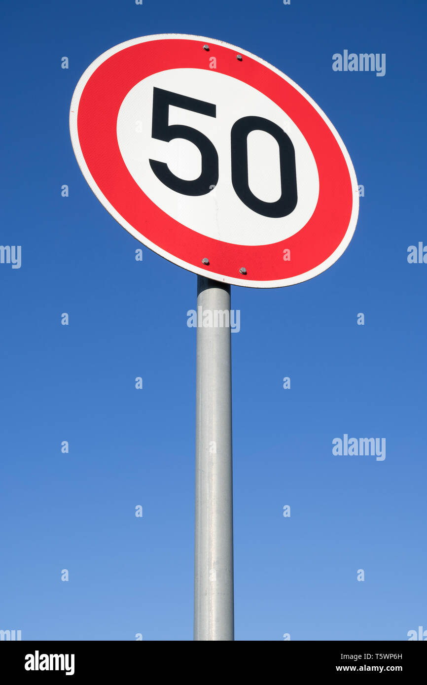 German road sign: speed limit 50 km/h Stock Photo