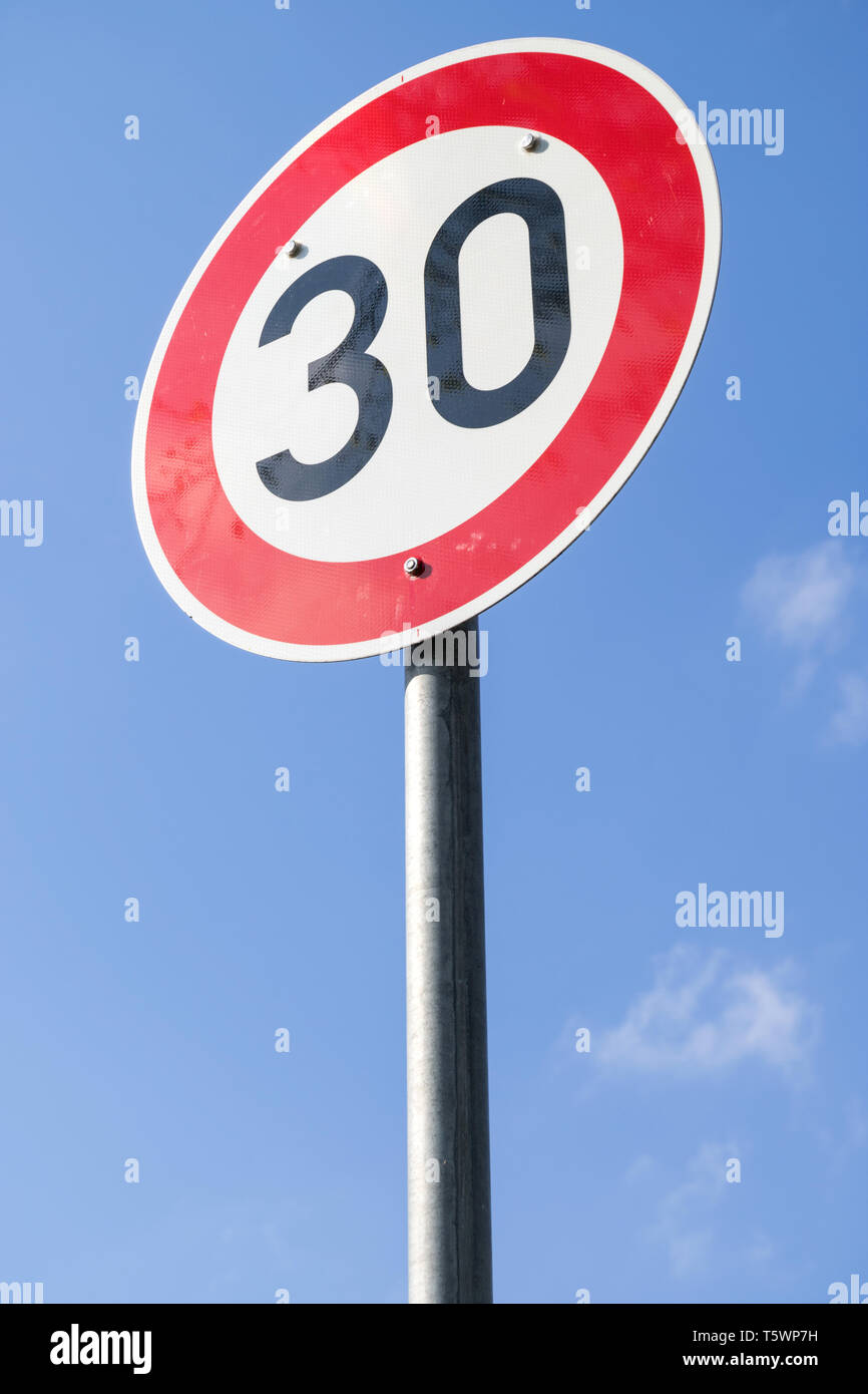 German road sign: speed limit 30 km/h Stock Photo