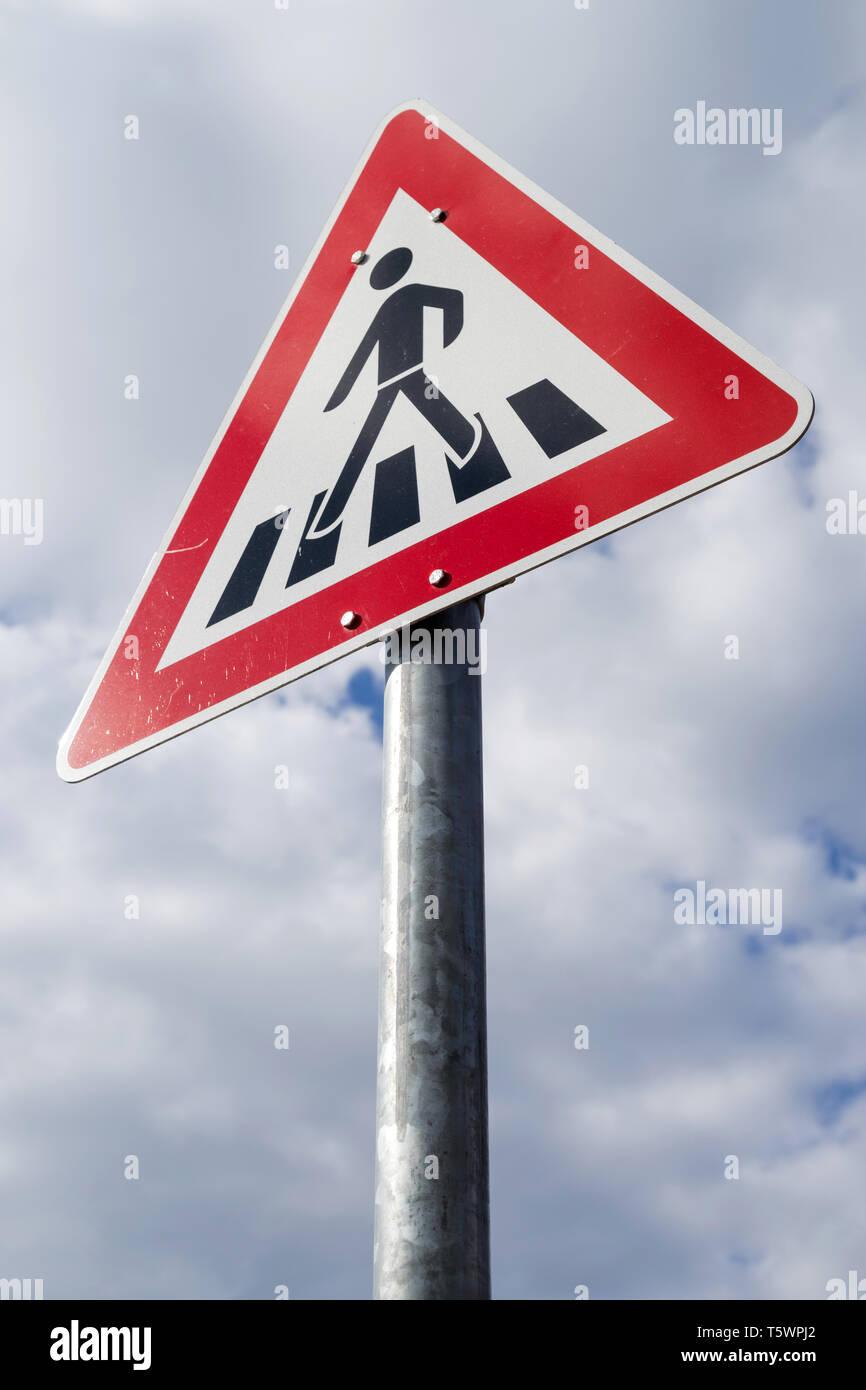 German road sign: Zebra crossing - Stock Image
