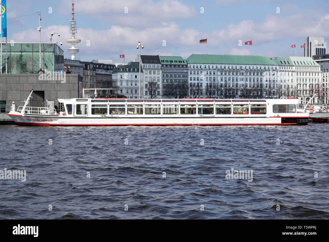 flat bottom vessel ALSTERSCHIPPER on the Inner Alster in Hamburg, Germany - Stock Image