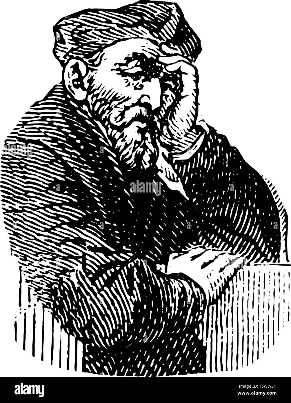 Philibert Delorme 1500 to 1577 he was a French architect writer and one of the great masters of the French Renaissance vintage line drawing or engravi - Stock Vector