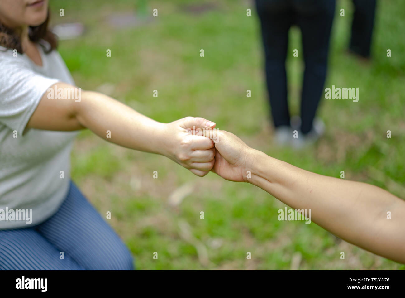 hand holds together in the community in the garden / park. - Stock Image