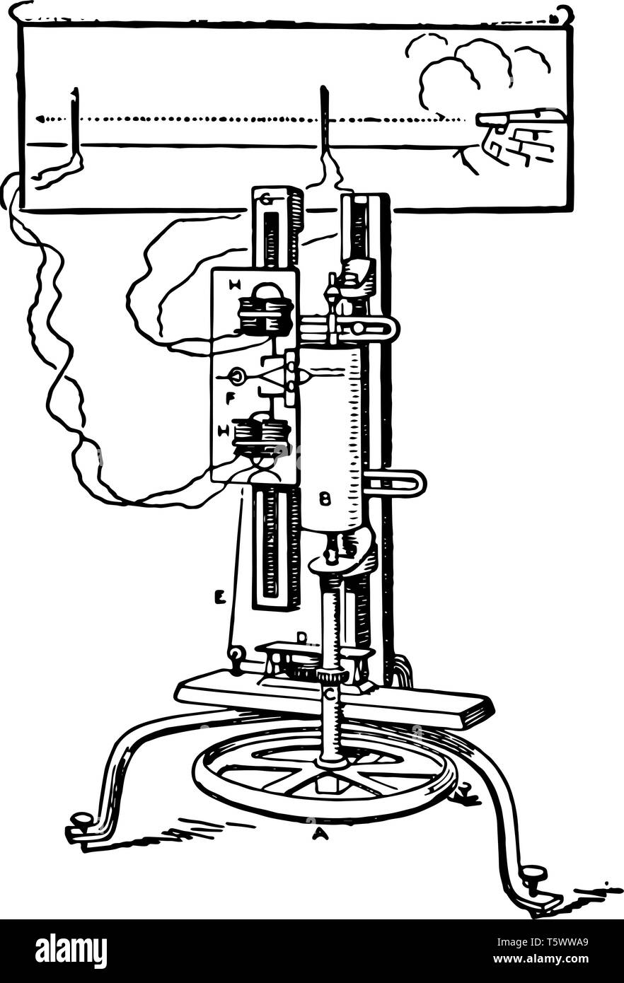 This illustration represents function of Bashforth Chronograph which unwinds the spring, vintage line drawing or engraving illustration. - Stock Image