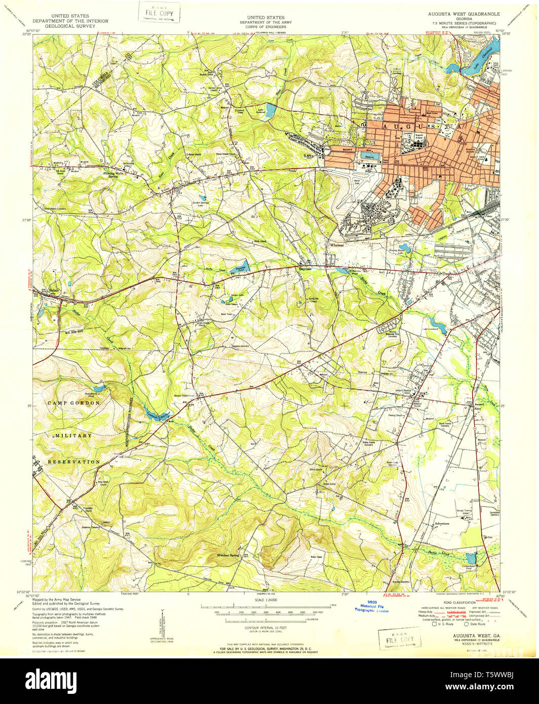 Map Of West Georgia.Usgs Topo Map Georgia Ga Augusta West 244952 1950 24000 Restoration