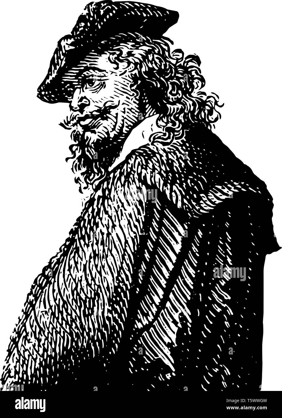 Rembrandt Van Rhyn 1606 to 1669 he was a Dutch draughtsman painter and printmaker vintage line drawing or engraving illustration - Stock Vector