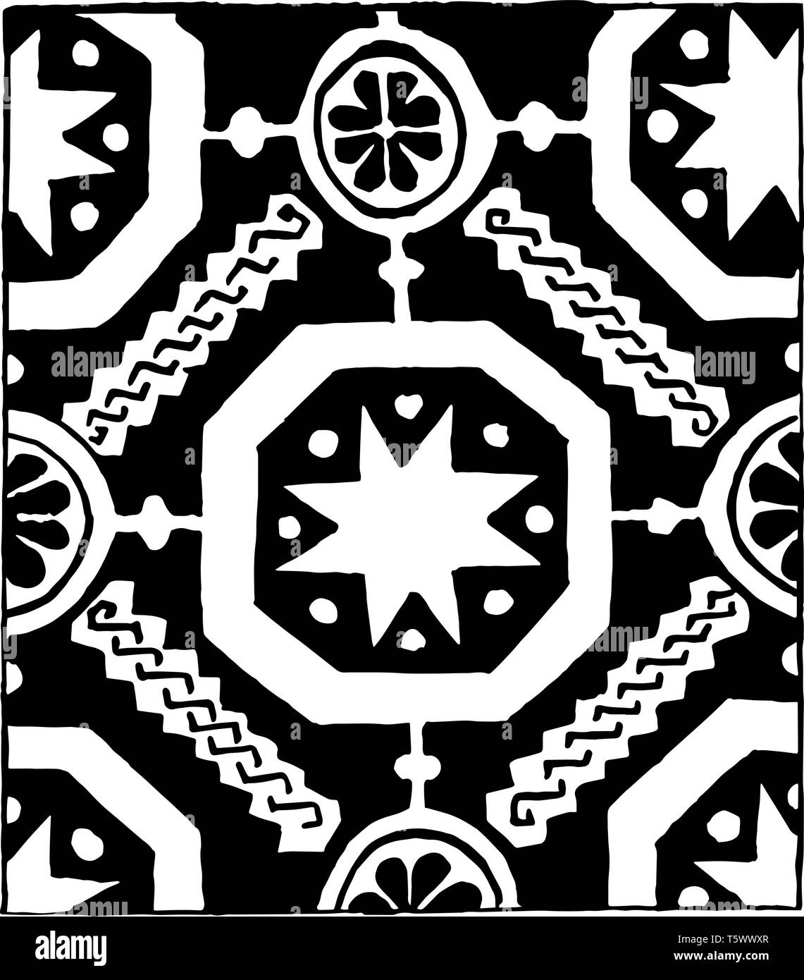 13th Century Weave Design it is also a 14th century weaving design It consists of star and floral patterns that are connected vintage line drawing or  - Stock Vector