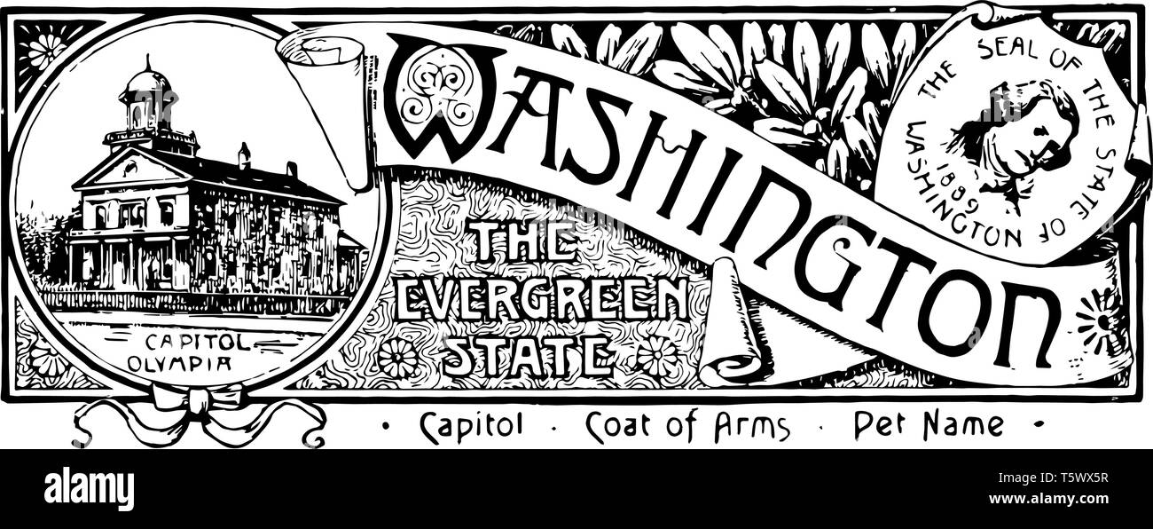 The state banner of Washington the evergreen state this banner has state house on left side portrait of George Washington on right side WASHINGTON is  - Stock Vector