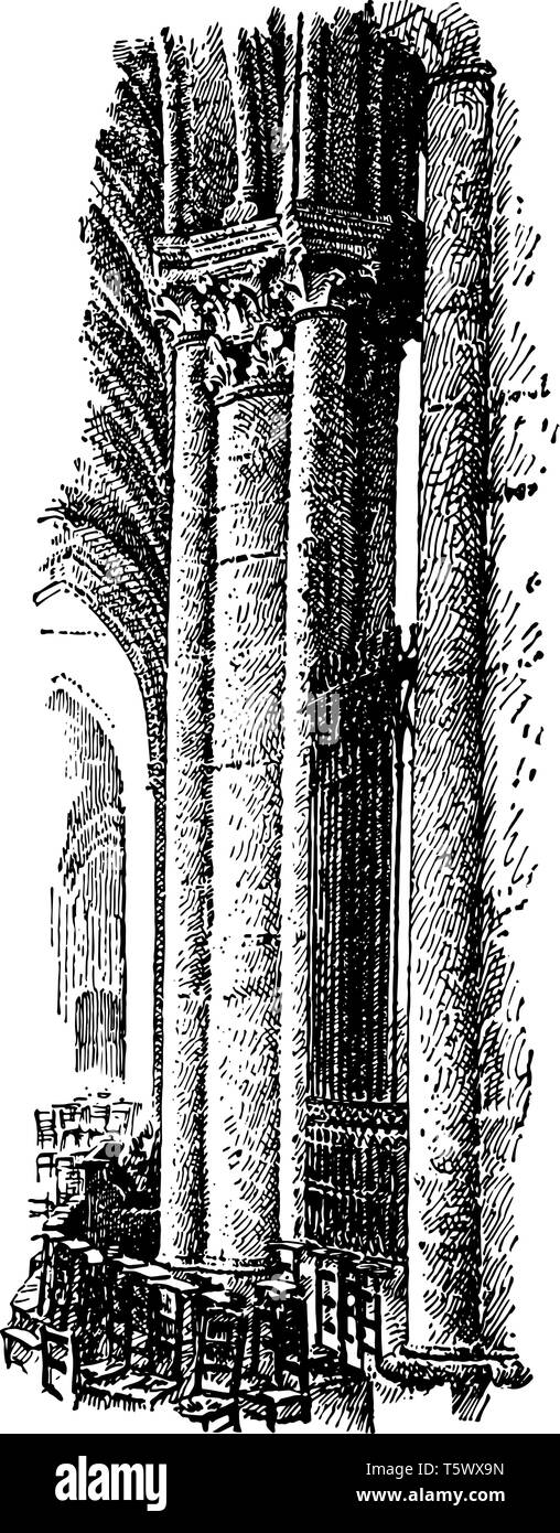 Pillar from the Cathedral of Tours, France, circa 13th century, Arnau Vidal, master, vintage line drawing or engraving illustration. - Stock Vector