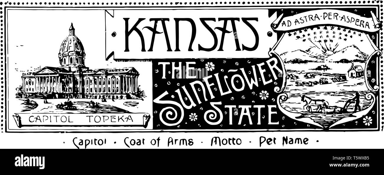The state banner of Kansas the sunflower state banner has state house in left side and right side rising sun river and a steamboat a man plowing with  - Stock Image