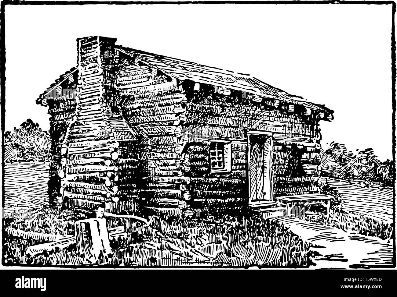 This is the log cabin in Kentucky where Abraham Lincoln was born. This was very old house which was built with wooden stuff vintage line drawing or en - Stock Vector