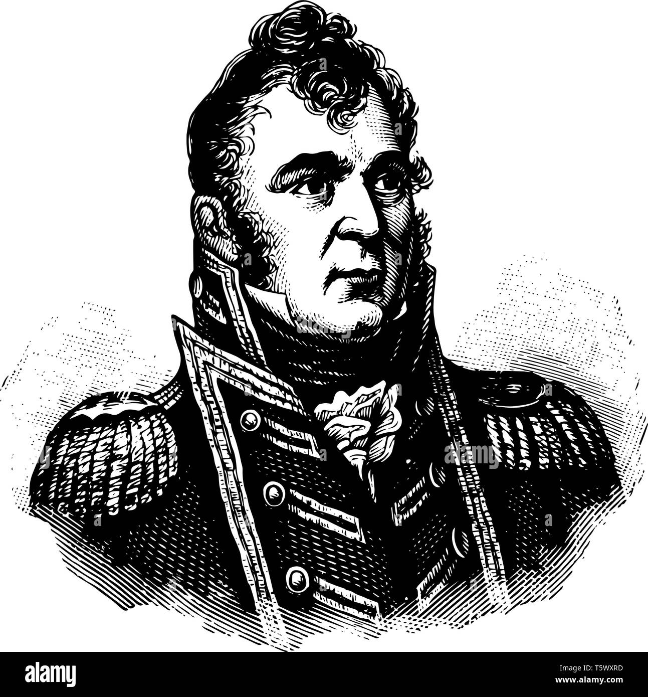Isaac Chauncey 1772 to 1840 he was an officer in the United States navy and the president of the board of Navy commissioners vintage line drawing or e - Stock Vector