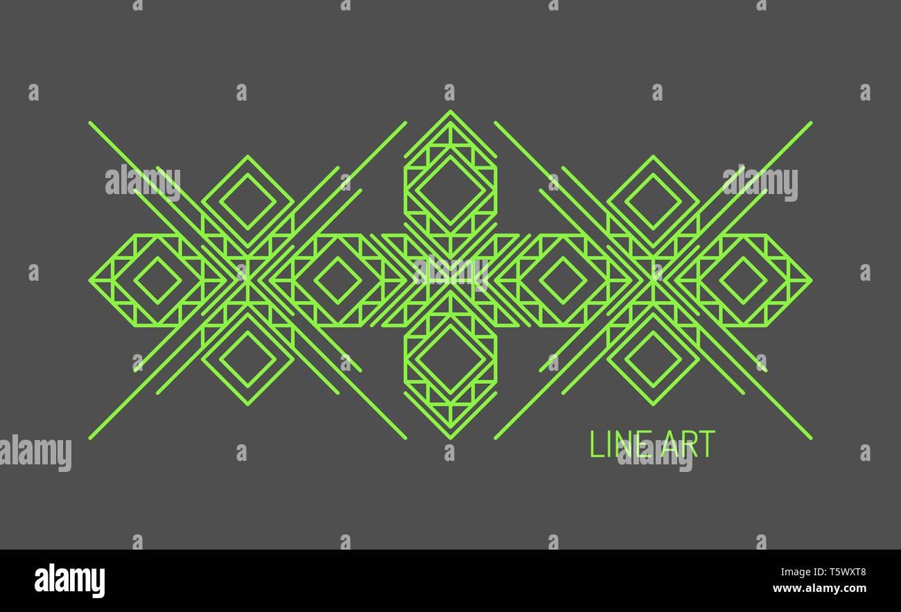 Line art design for invitation, poster, badge, monogram. Elegant luxury design template. Vector illustration. - Stock Image