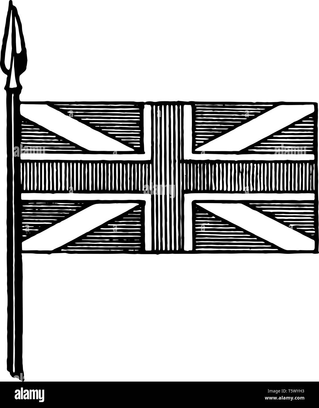 Union Flag: Crosses of St. George, St. Andrew, this flag has cross of vertical stripes with outline superimposed on white diagonal cross, and horizont - Stock Vector