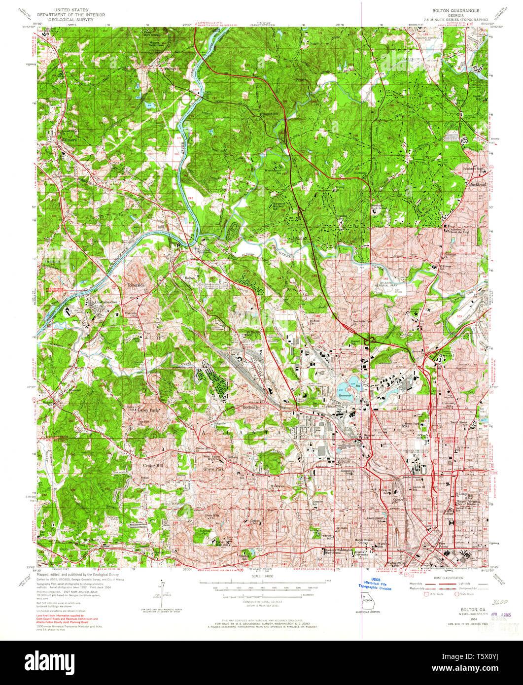 USGS TOPO Map Georgia GA Bolton 245094 1954 24000 Restoration - Stock Image