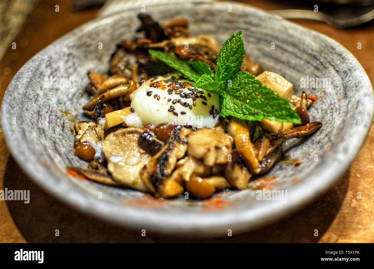 Bowl of mushrooms and fungi with an egg cooked at low temperature - Stock Image