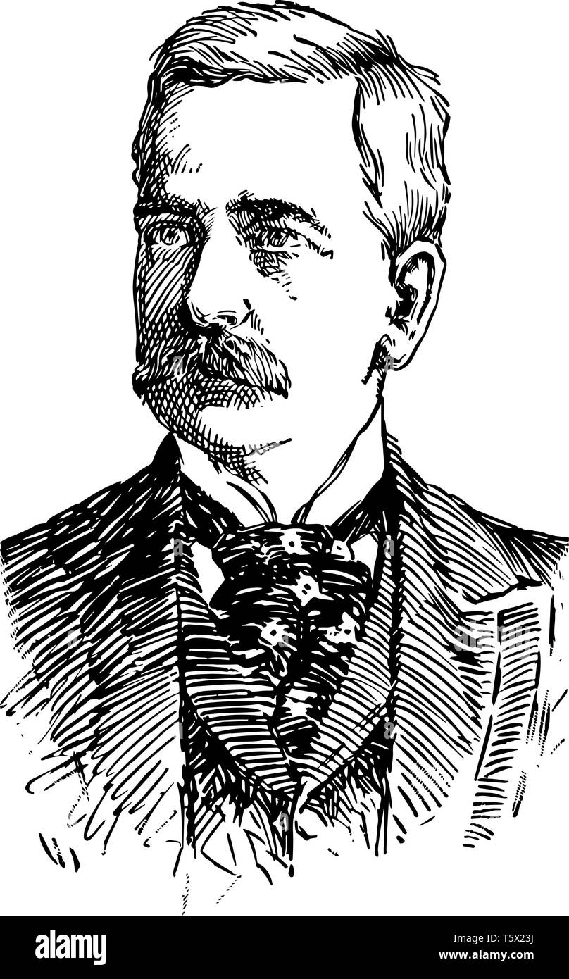 Marshall Field 1834 to 1906 he was an American entrepreneur and the founder of Marshall Field and Company vintage line drawing or engraving illustrati - Stock Image