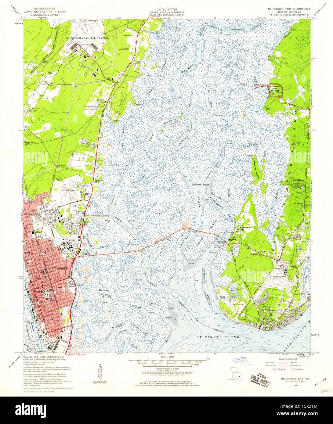 USGS TOPO Map Georgia GA Brunswick East 245136 1956 24000 ... Sc Ga Map on north carolina earthquake fault line map, ga co map, ga nv map, ga nc map, ga regions map, ga district map, ga tn map, ga elevation map, ga state map, ga fl map, ga interstate map, ga road map, georgia and florida road map, athens ga map, ga al map, ga st map, south carolina map, south ga cities map, ga rivers map, ga ala map,