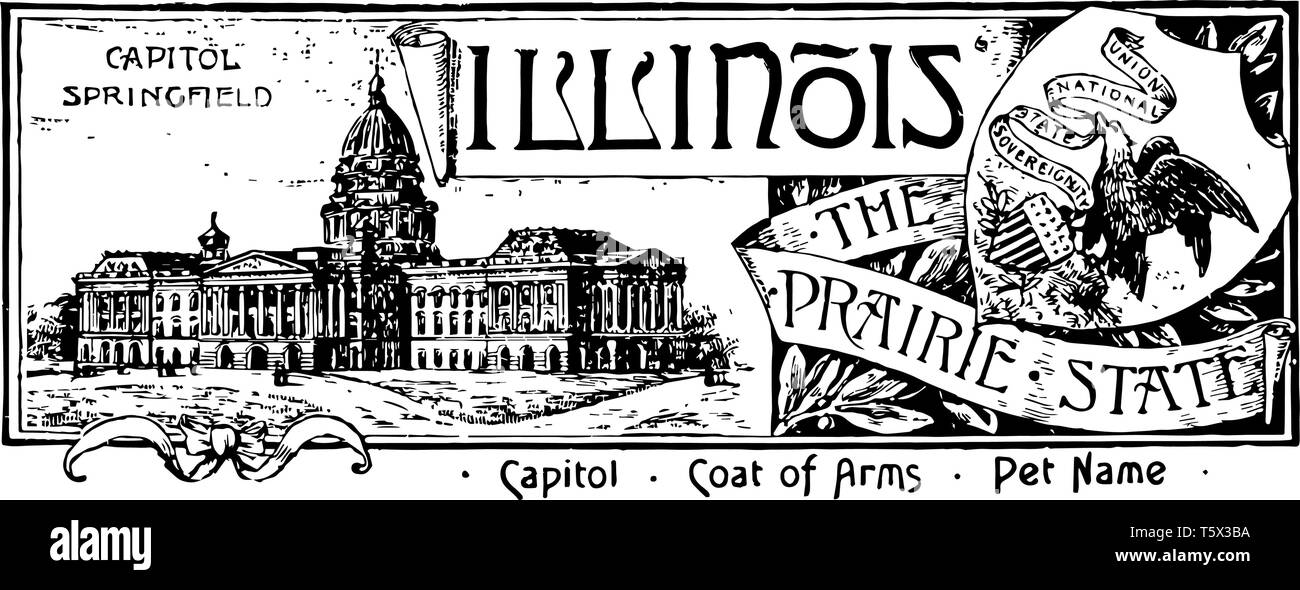 The state banner of Illinois the prairie state banner has state house in left side with CAPITOL SPRINGFIELD on top left side in shield an eagle with b - Stock Image