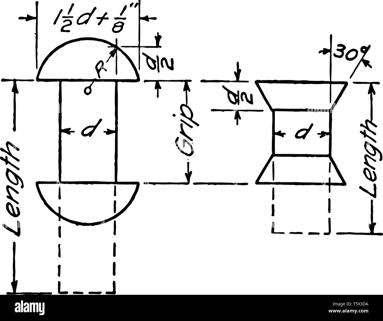 Rivet drawing symbol