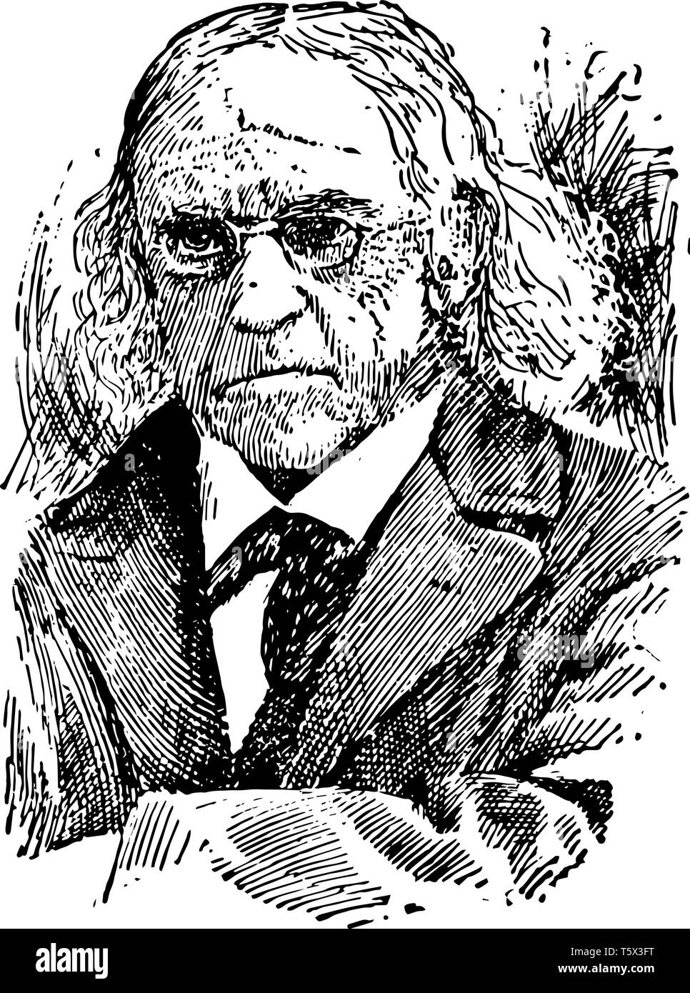 Theodor Mommsen 1817 to 1903 he was a German classical scholar historian jurist journalist politician archaeologist and writer vintage line drawing or - Stock Vector