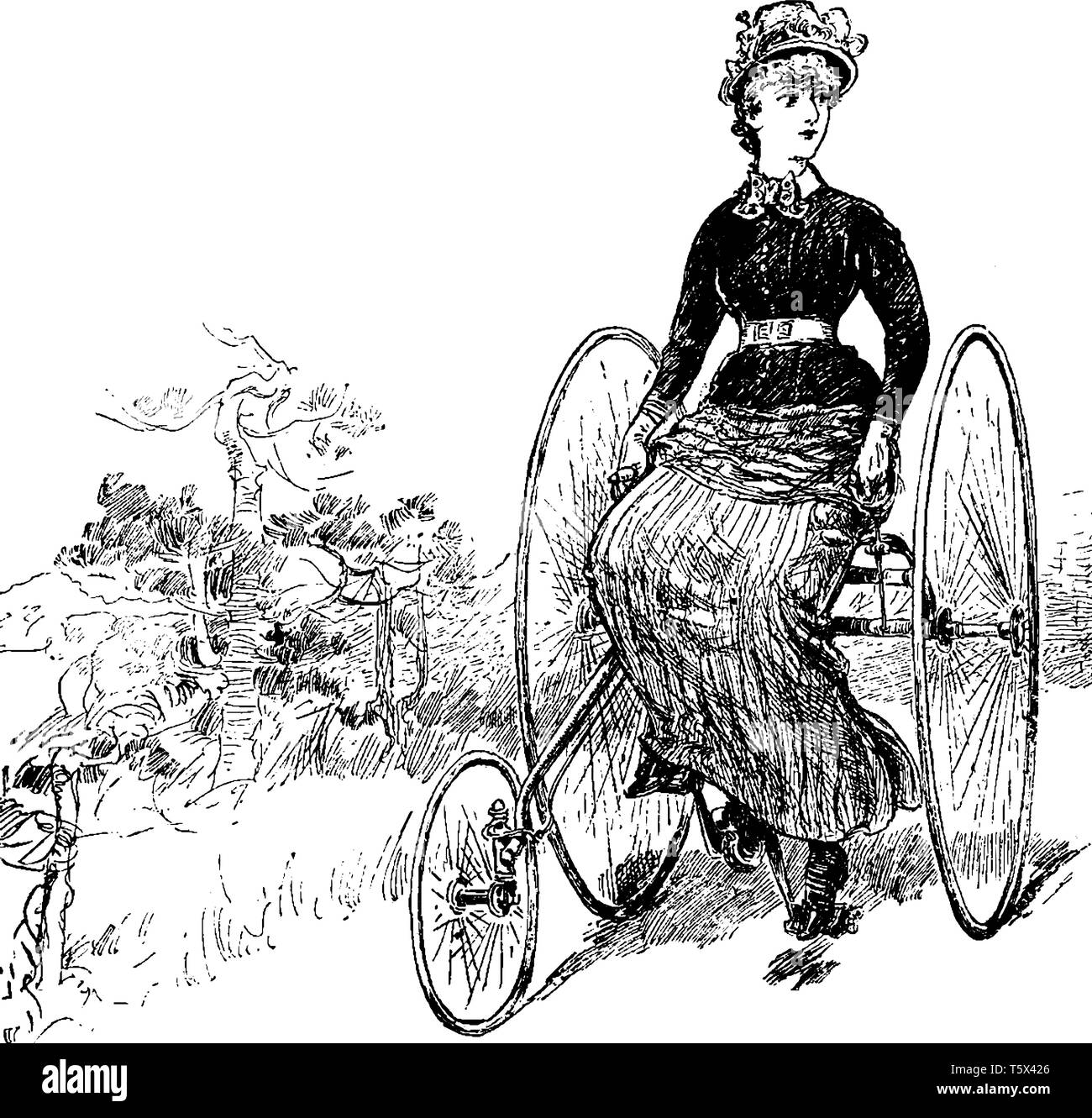 This Illustration Represents Woman On A Tricycle And Looking Over Her Shoulder Vintage Line Drawing Or Engraving Illustration Stock Vector Image Art Alamy