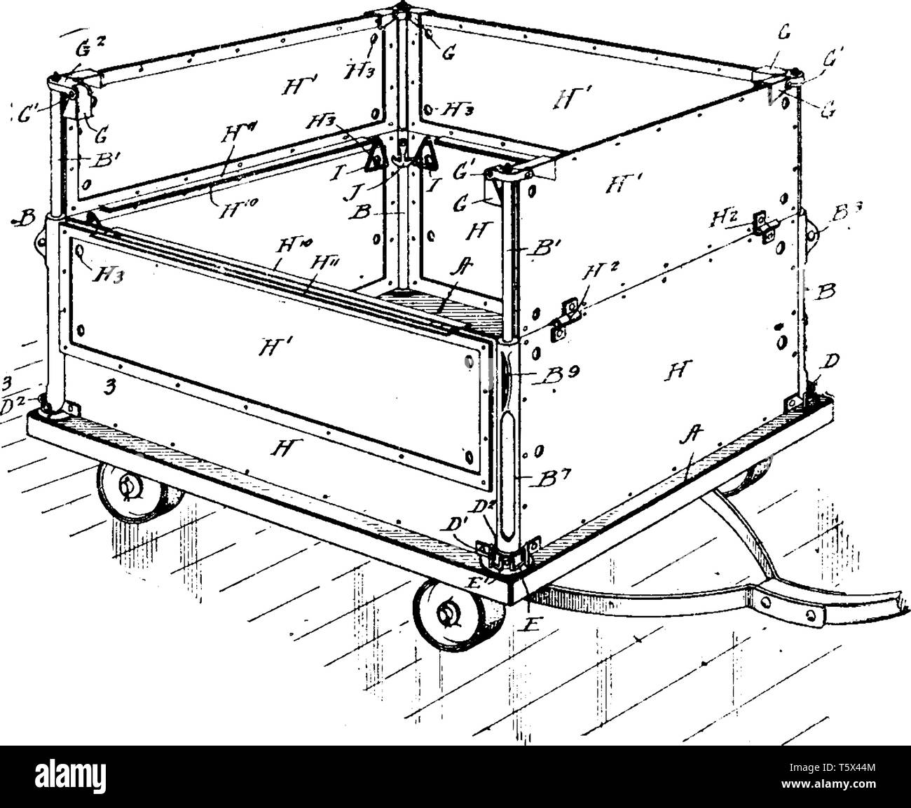 hand truck is a handcart that has a frame with two low wheels and a ledge  at the bottom and handles at the top, vintage line drawing or engraving illu