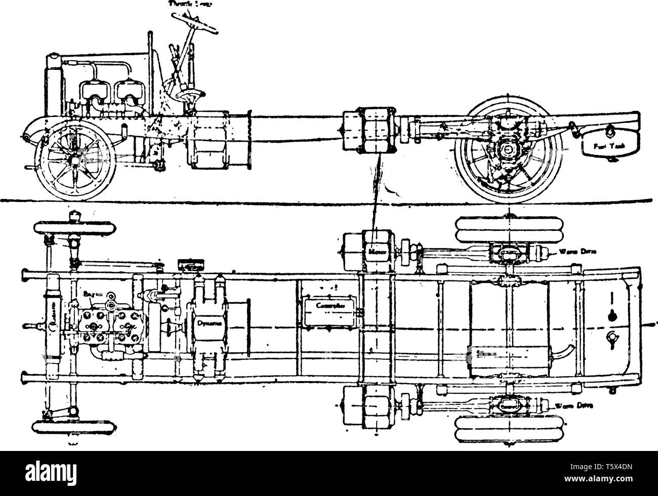 This illustration represents hallford Stevens Petrol Electric Vehicle Chassis with Two Back Motors, vintage line drawing or engraving illustration. - Stock Vector