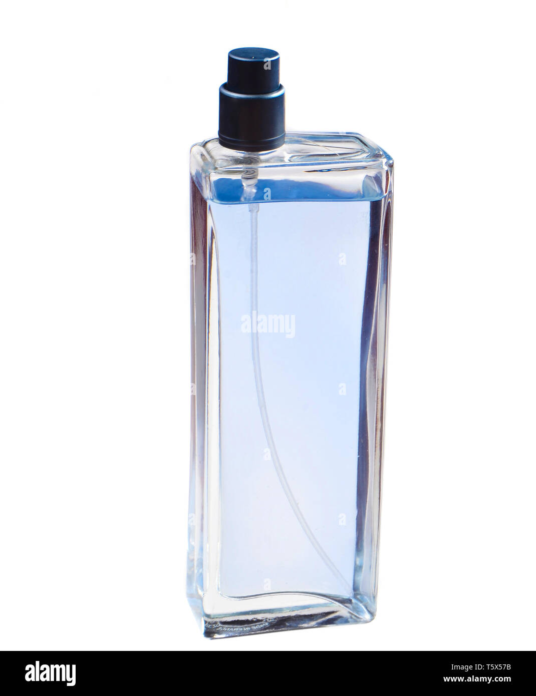 Glass perfume bottle isolated on white background. - Stock Image