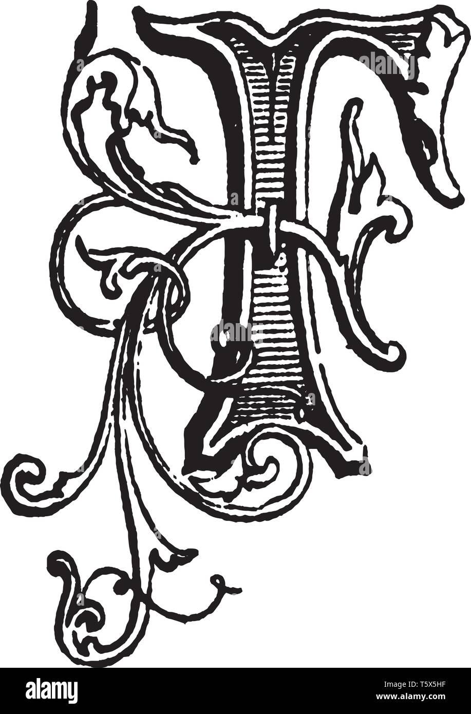 A Decorative And Floral Capital Letter F Vintage Line