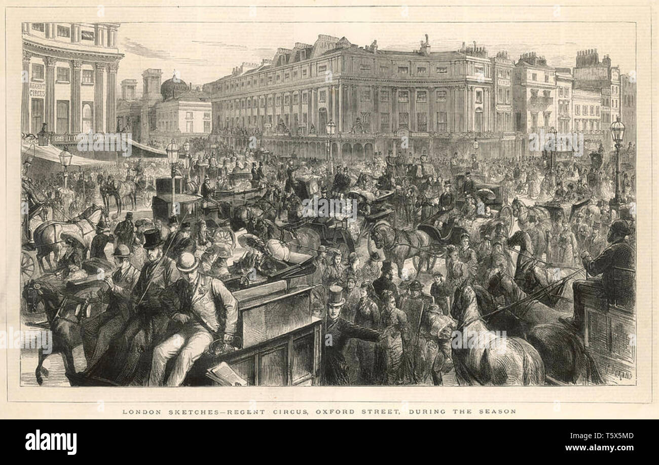 TRAFFIC JAM at Oxford Circus,London,in 1875 - Stock Image