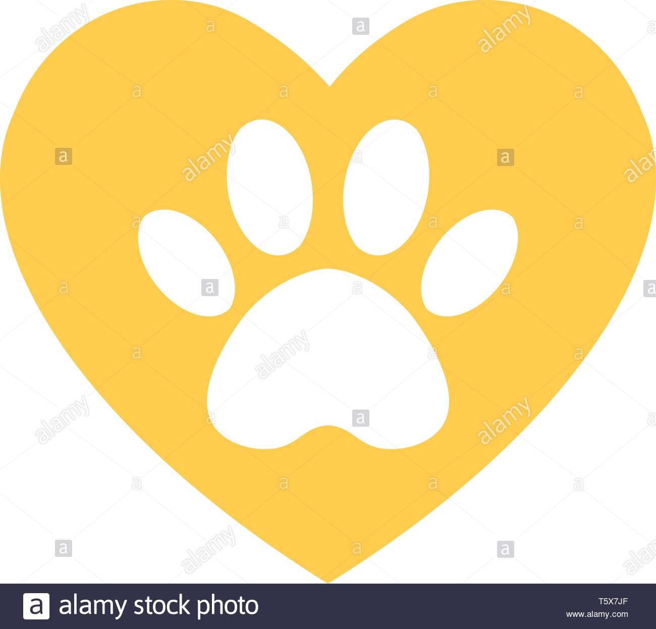 cat and dog paw print inside heart  The dog's track in the yellow