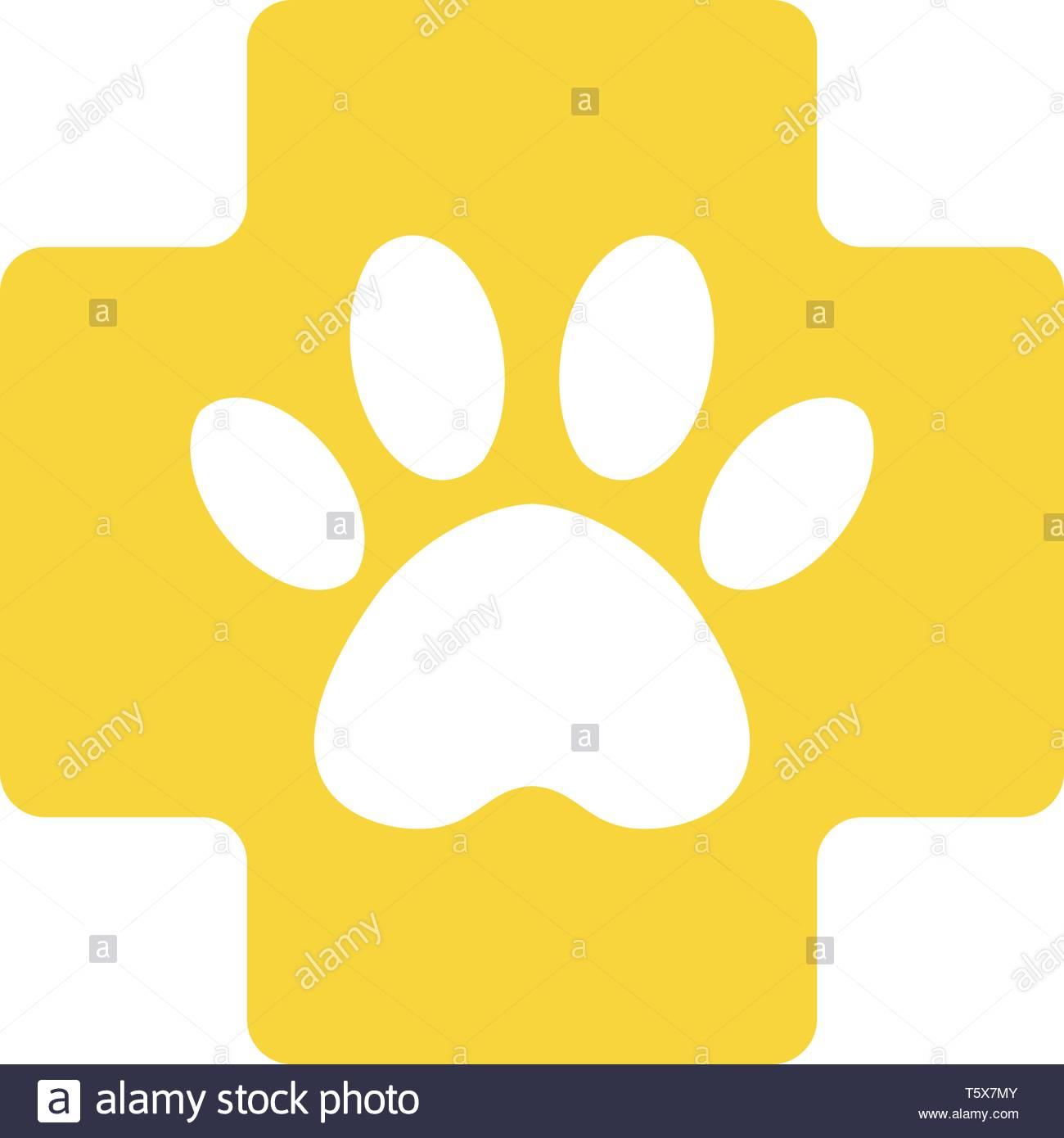 veterinary pharmacy sign. yellow cross with paw veterinary care symbol icon. - Stock Image