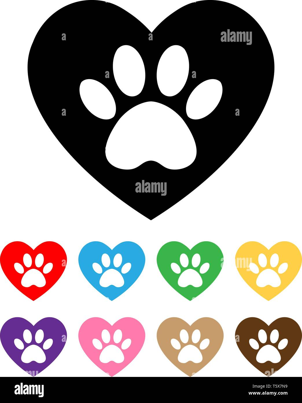 set cat and dog paw print inside heart  The dog's track in