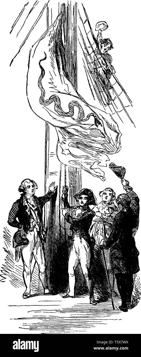 John Paul Jones Raising the First Flag on a U.S Ship,vintage line drawing or engraving illustration. - Stock Vector