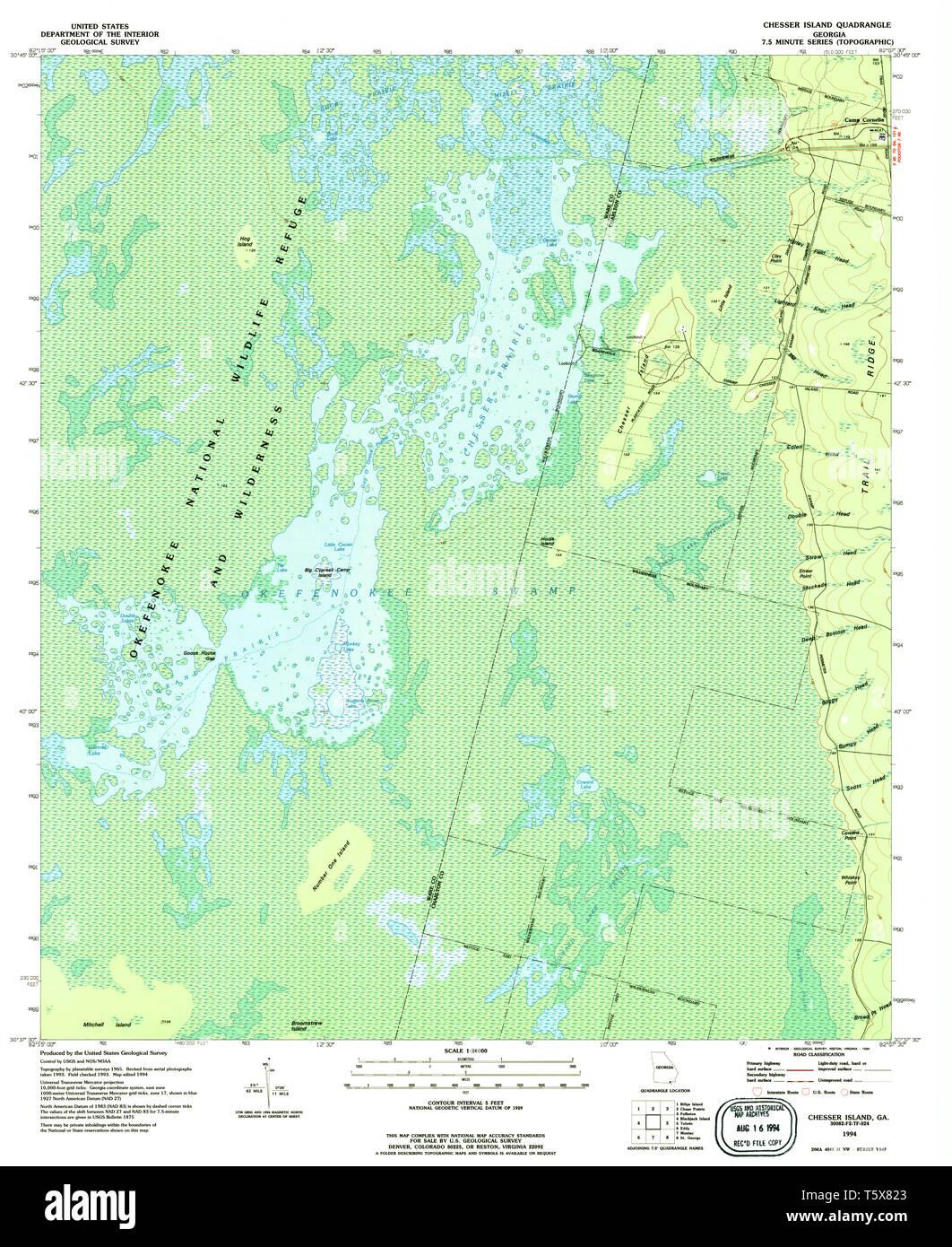 USGS TOPO Map Georgia GA Chesser Island 245302 1994 24000 Restoration - Stock Image