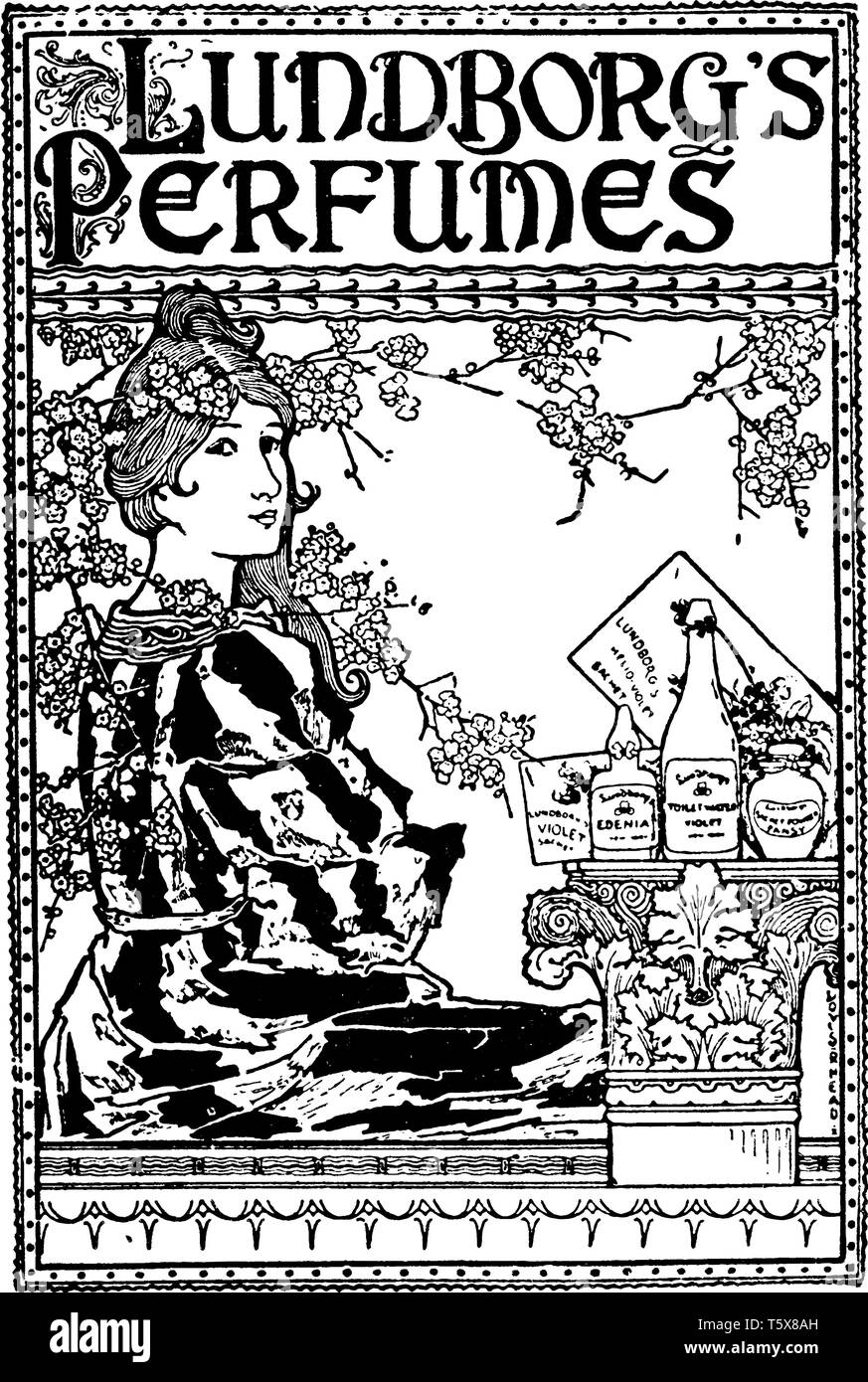 A perfume advertisement with woman, vintage line drawing or engraving illustration - Stock Image