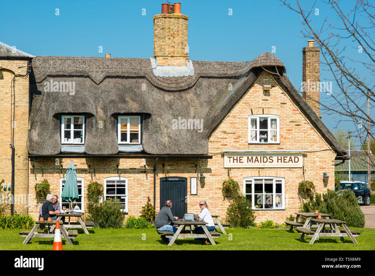 Characterful Wicken Village pub close to Wicken Fen, Cambridgeshire, England, UK. - Stock Image
