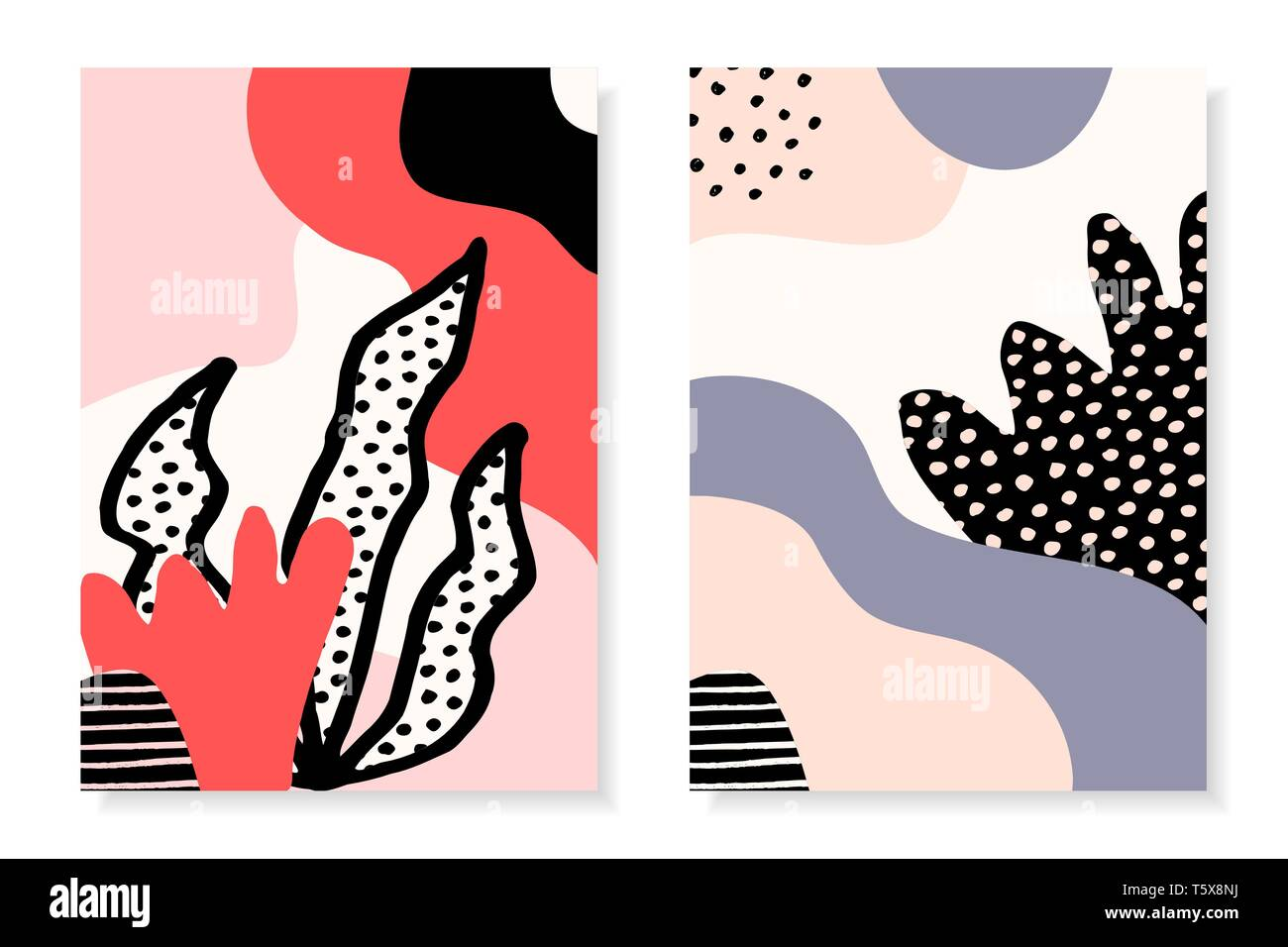 Modern Abstract Design Templates With Organic Floral Shapes