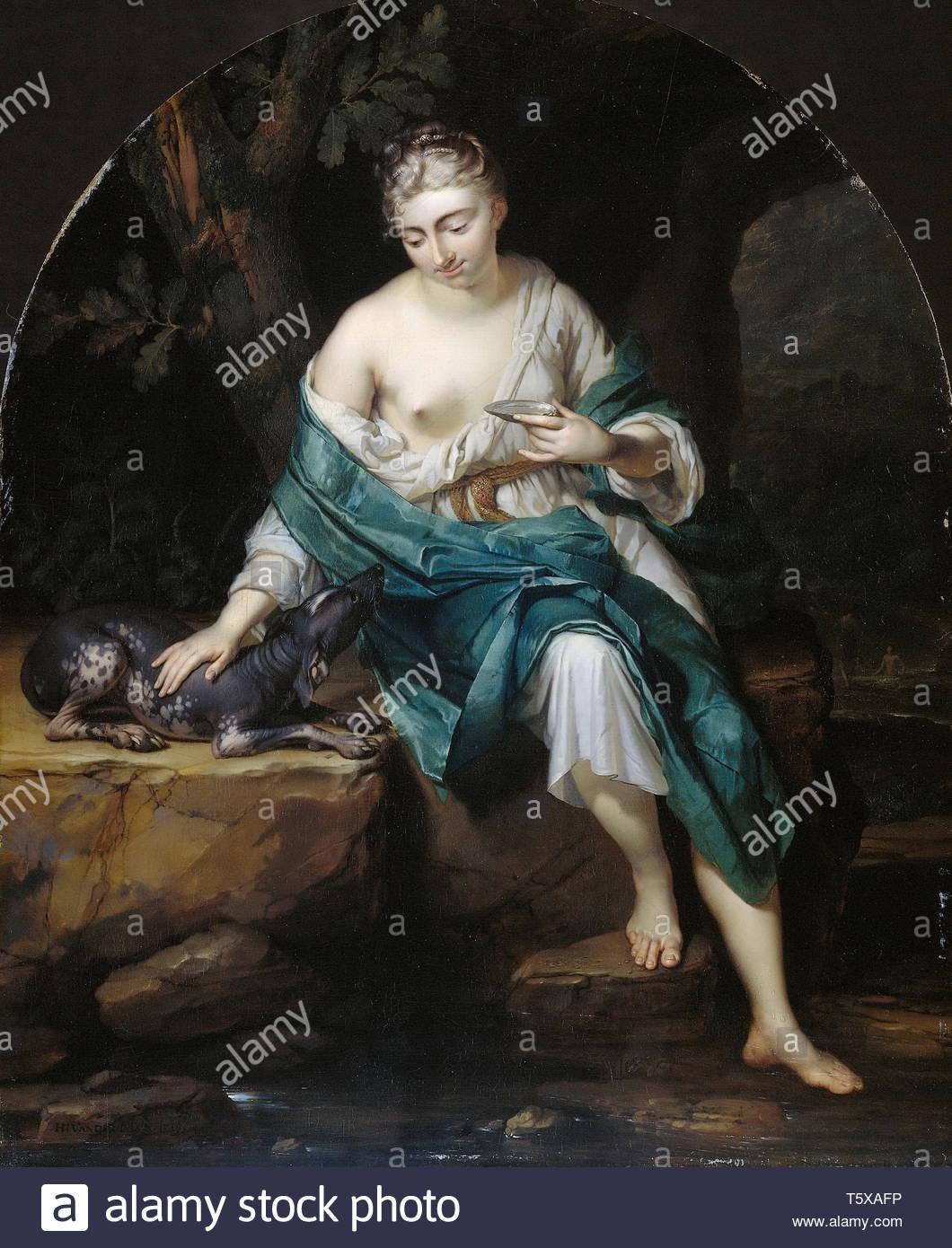 Mijn, Herman van der-Een allegorische vrouwenfiguur met een hond, 1719 - Stock Image