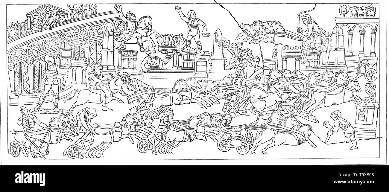 Birkus race. Relief on a sarcophagus in Foligno. After 'Annal. Inst.', - Stock Image