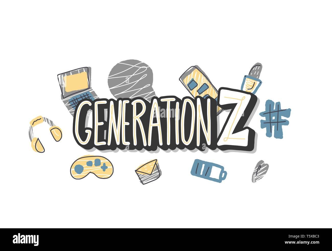 Generation z emblem  Text with digital symbols  Vector concept