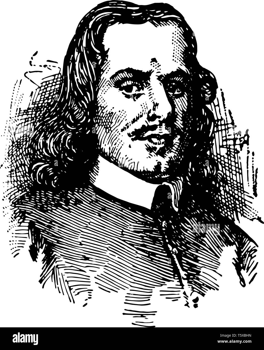John Bunyan 1628 to 1688 he was an English writer and puritan preacher famous as the author of the Christian allegory The Pilgrims Progress vintage li - Stock Image