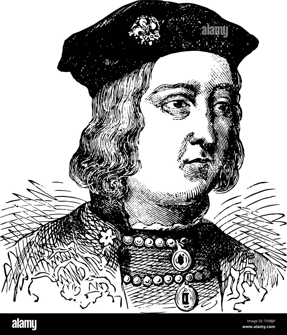 Richard IV of England, 1442-1483, he was the king of England from 1461 to 1470, vintage line drawing or engraving illustration - Stock Vector